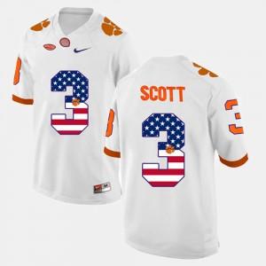 Mens Clemson Tigers #3 Artavis Scott White US Flag Fashion Jersey 319616-174