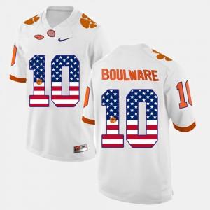 For Men's Clemson University #10 Ben Boulware White US Flag Fashion Jersey 653242-904