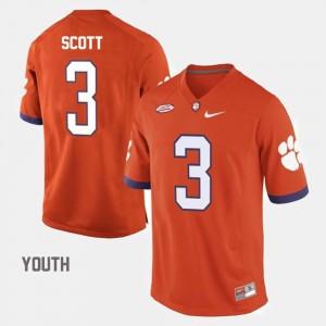 Youth Clemson #3 Artavis Scott Orange College Football Jersey 312791-959