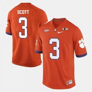 Men Clemson Tigers #3 Artavis Scott Orange College Football Jersey 328194-901