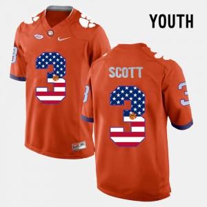 Youth Clemson University #3 Artavis Scott Orange US Flag Fashion Jersey 867145-428