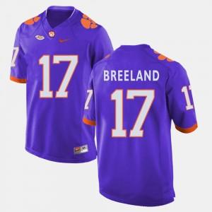 For Men's Clemson National Championship #17 Bashaud Breeland Purple College Football Jersey 736672-118