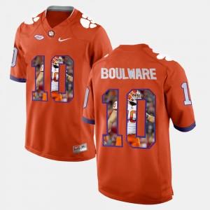 Men's Clemson University #10 Ben Boulware Orange Player Pictorial Jersey 459095-442