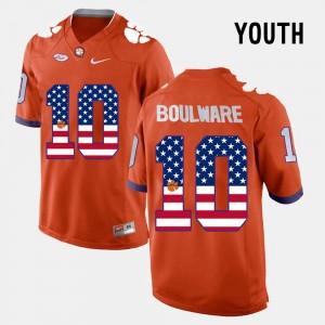 For Kids Clemson #10 Ben Boulware Orange US Flag Fashion Jersey 152064-918