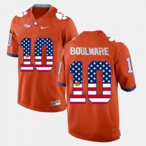 Mens Clemson National Championship #10 Ben Boulware Orange US Flag Fashion Jersey 279478-739