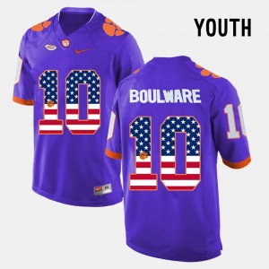 Youth(Kids) Clemson University #10 Ben Boulware Purple US Flag Fashion Jersey 404391-164