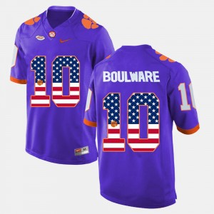 Mens Clemson National Championship #10 Ben Boulware Purple US Flag Fashion Jersey 683144-521