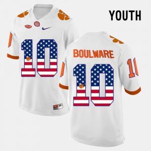 For Kids Clemson #10 Ben Boulware White US Flag Fashion Jersey 907784-535