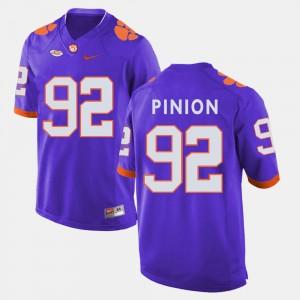 Mens Clemson Tigers #92 Bradley Pinion Purple College Football Jersey 527959-277