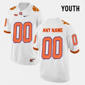 For Kids Clemson #00 White College Limited Football Custom Jersey 350073-619