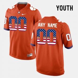 Kids Clemson National Championship #00 Orange US Flag Fashion Custom Jersey 816228-375
