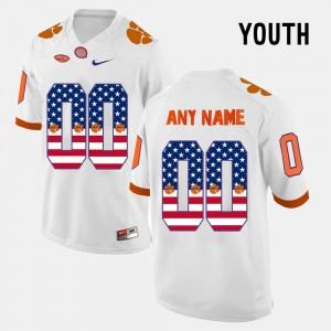 Kids Clemson University #00 White US Flag Fashion Custom Jersey 637489-818