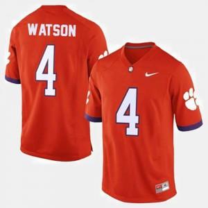 Men's Clemson University #4 Deshaun Watson Orange College Football Jersey 125129-838