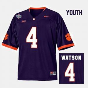 For Kids Clemson Tigers #4 Deshaun Watson Purple College Football Jersey 855997-145