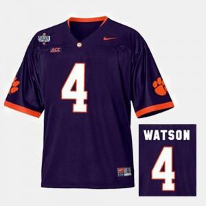 Men Clemson University #4 Deshaun Watson Purple College Football Jersey 372036-973