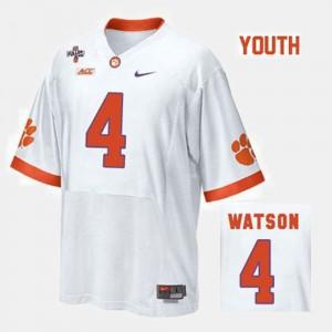 For Kids Clemson #4 Deshaun Watson White College Football Jersey 252169-863