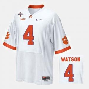 Mens Clemson National Championship #4 Deshaun Watson White College Football Jersey 498776-962
