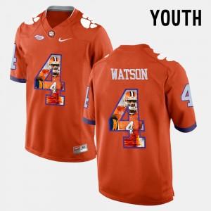 For Kids Clemson University #4 DeShaun Watson Orange Pictorial Fashion Jersey 678680-461