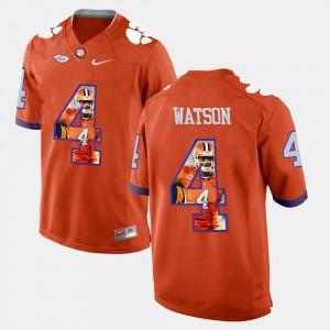 For Men's Clemson Tigers #4 DeShaun Watson Orange Pictorial Fashion Jersey 776843-916
