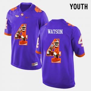 Kids CFP Champs #4 DeShaun Watson Purple Pictorial Fashion Jersey 535936-201