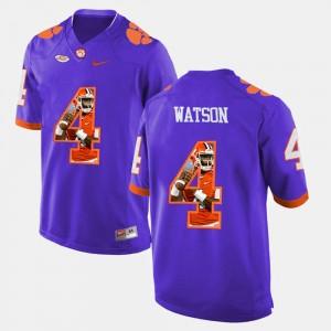 Men Clemson National Championship #4 DeShaun Watson Purple Pictorial Fashion Jersey 296996-132