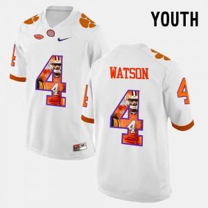 Youth Clemson Tigers #4 DeShaun Watson White Pictorial Fashion Jersey 359537-356