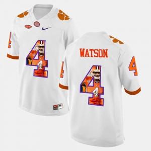 For Men Clemson University #4 DeShaun Watson White Pictorial Fashion Jersey 996223-361