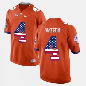 Mens Clemson #4 DeShaun Watson Orange US Flag Fashion Jersey 195935-181