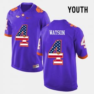 Youth Clemson University #4 DeShaun Watson Purple US Flag Fashion Jersey 635771-499