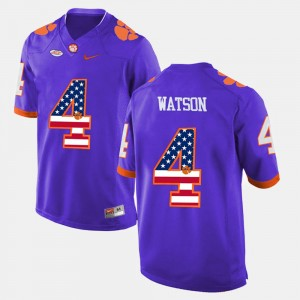 Men Clemson National Championship #4 DeShaun Watson Purple US Flag Fashion Jersey 688505-789