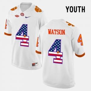 For Kids CFP Champs #4 DeShaun Watson White US Flag Fashion Jersey 171230-720