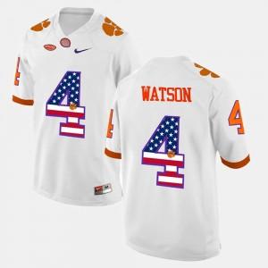 Mens CFP Champs #4 DeShaun Watson White US Flag Fashion Jersey 760931-391