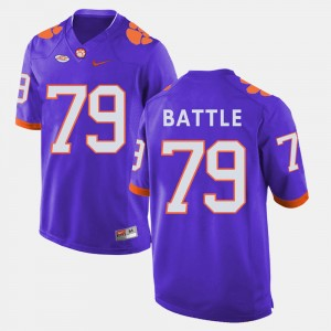 For Men Clemson #79 Isaiah Battle Purple College Football Jersey 406398-804
