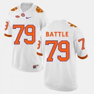 For Men's Clemson #79 Isaiah Battle White College Football Jersey 884214-358