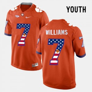 Kids Clemson #7 Mike Williams Orange US Flag Fashion Jersey 910859-565