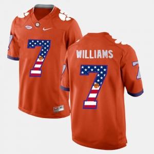 Mens Clemson #7 Mike Williams Orange US Flag Fashion Jersey 892134-129