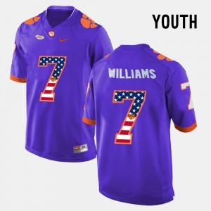 Youth Clemson University #7 Mike Williams Purple US Flag Fashion Jersey 258630-798