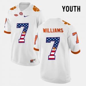Kids Clemson National Championship #7 Mike Williams White US Flag Fashion Jersey 860205-286