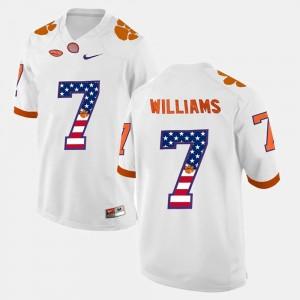 Mens Clemson University #7 Mike Williams White US Flag Fashion Jersey 344289-336