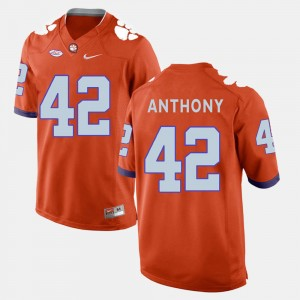 For Men's Clemson Tigers #42 Stephone Anthony Orange College Football Jersey 222686-538