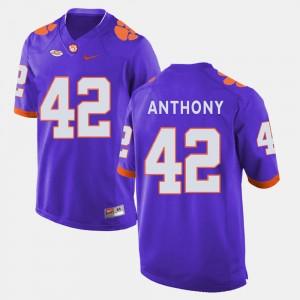 Men Clemson Tigers #42 Stephone Anthony Purple College Football Jersey 155265-376