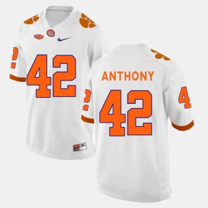 Mens Clemson University #42 Stephone Anthony White College Football Jersey 131134-770