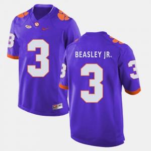 For Men Clemson University #3 Vic Beasley Jr. Purple College Football Jersey 811908-438