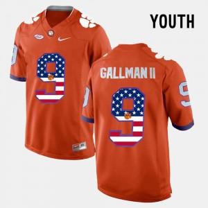 Youth(Kids) Clemson Tigers #9 Wayne Gallman II Orange US Flag Fashion Jersey 683671-675