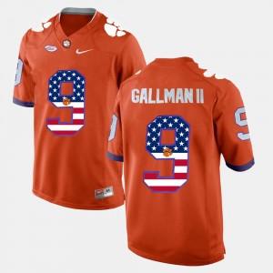 Men Clemson University #9 Wayne Gallman II Orange US Flag Fashion Jersey 848653-509