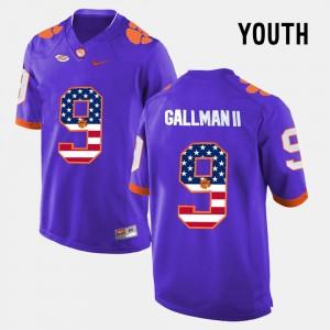 Kids Clemson University #9 Wayne Gallman II Purple US Flag Fashion Jersey 878390-307