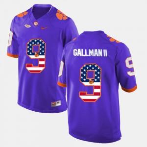 For Men's Clemson #9 Wayne Gallman II Purple US Flag Fashion Jersey 784859-847