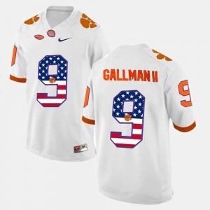 Mens Clemson Tigers #9 Wayne Gallman II White US Flag Fashion Jersey 310543-678