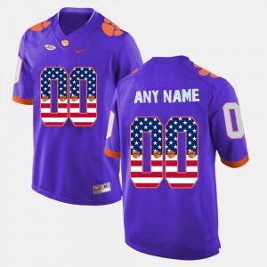 Mens Clemson National Championship #00 Purple US Flag Fashion Custom Jersey 726531-872