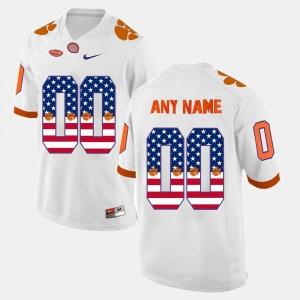 Men's Clemson National Championship #00 White US Flag Fashion Custom Jerseys 671358-413